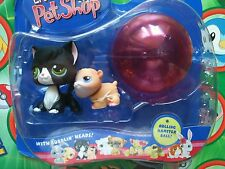 Littlest Pet Shop Black Tuxedo Cat green eyes Hamster Gerbil #55 Ball Set Pack