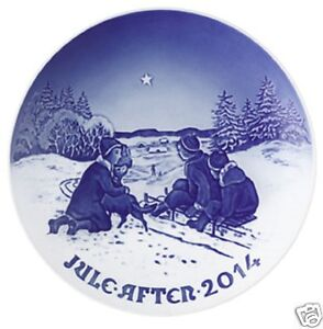 BING & GRONDAHL 2014 Christmas Plate B&G - Sled Ride in the Snow NEW but no box