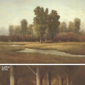 "40W""x30H"" GATHERING by SHANNA KUNZ - TREES ALONG NARROW RIVER LANDSCAPE CANVAS"