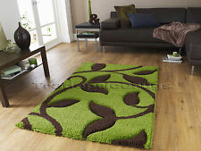 LARGE THICK DEEP PILE SHAGGY CARVED SOFT LIME GREEN CHOCOLATE BROWN RUG 120x170