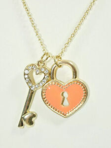 Gold Plated Orange Heart Key CZ Light Delicate Chain 28 Inches Woman Necklace