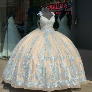 Champagne Quinceanera Dresses with Bow Lace Applique Sweet 16 Dress Wide Strap