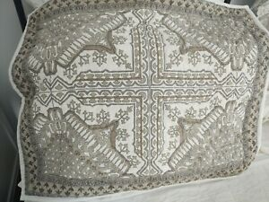 The Company Store Hand Quilted Pillow Shams Pair Gray Brown Medallion Print EUC