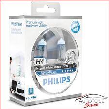 Philips WhiteVision H4 60% mehr Licht 2x W5W BlueVision 12342WHVSM Xenon Effekt