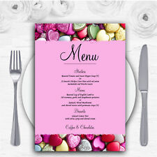 Colourful Cute Love Hearts Personalised Wedding Menu Cards