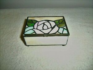 """Vintage Stained Glass """"Lidded Trinket Box with Floral Design"""""""