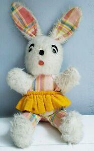 "Vtg Mary Meyer Vermont Plaid Plush Bunny Rabbit 11"" Pink Yellow Blue Stuffed"