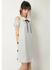 shibuya109Side lace round collar A line OP Gray New with tag
