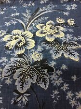 Waverly Stonington /circa Denim Blue Floral Drapery Linen Fabric By The Yard