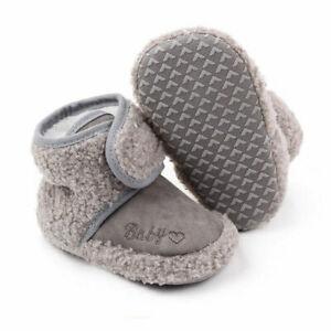 0-18M Warm Snow Booties Pram Crib Shoes Baby Girl Fur Lined Boots Newborn Winter