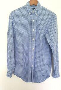 RALPH LAUREN Designer Mens Blue/White Checkered Long Sleeve Shirt size S EUC