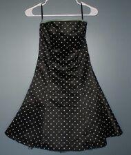 Jessica McClintock Gunne Sax Black Formal Dress Green Polka Dots Junior Size 3/4