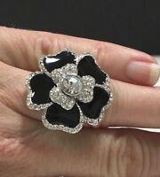 New LIA SOPHIA Black Dhalia FLOWER RING Rhinestone Statement Silver PL  ii157e