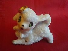 "Vintage Japan Porcelain Lamb Sheep Figurine Bow and Gold Halo 2 1/2"""
