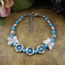 HOT Free shipping New Tibet silver multicolor jade turquoise bead bracelet S49