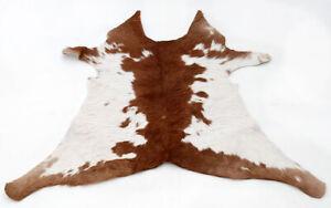 """Rare Cowhide Rugs Calf Hide Cow Skin Rug (26""""x31"""") White Brown CH8398"""
