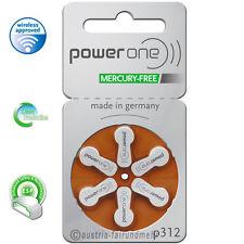"""60x POWER ONE Hörgeräte Batterie MERCURY FREE  P312 braun"