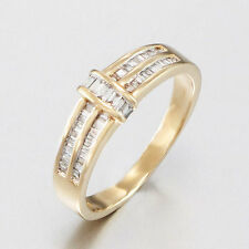 RING - 585/14K Gelbgold - Diamanten in Trapezschliff - ca. 0,90 ct. W/SI - 3,1g