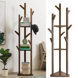 Wooden Coat Stand Rack with 3 Shelves Storage Ladder Shelf Hall Bedroom 8 Hooks