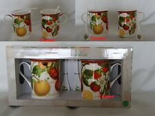 Set of 2 Fruit Garden Mugs Each with Spoon BNIB Made from Fine China