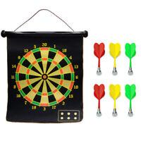 "22"" Magnetic Rollup Dart Board 6 Darts Double Side Dartboard ndoor Outdoor Game"