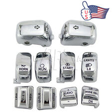 Chrome Carved Hand Control Switch Cover Button Caps for Harley SOFTAIL FLHT US
