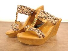 Womens Italian Shoemakers Brown Woven Wood Gold Tone Sandal Wedges 8.5