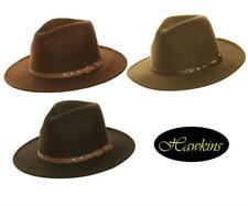 New Hawkins Felt Fedora Hat Black Brown Khaki unisex bush wide brim mens womens