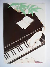 "CPM ""Chat blanc sur piano noir"""