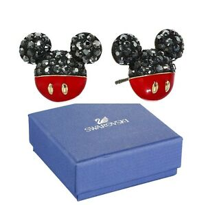 New in Gift Box SWAROVSKI Brand Disney 5566691 Gold Mickey Mouse Stud Earrings