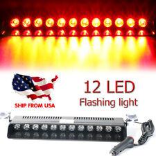 12 LED Car Dash Emergency Strobe Flash Light Bar Police Warning Signal Lamp RED