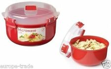 Sistema Round Microwave Container - 915 ml, Red with clear Lid