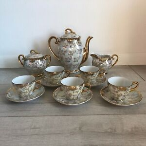 Vintage STERLING China Japan 8 Piece (15 total pieces)  Tea Set Gold Overlay