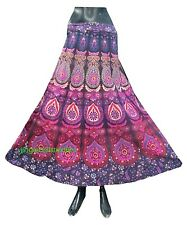 Indian Wrap Around Women Hippie Gypsy floral Cotton Long Skirt RAPRON ethnic Boh