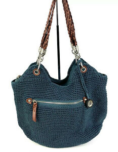 The Sak Indio Crochet Satchel Vintage Blue Braided Handle Handbag Purse