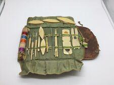 Rare Vtg La Cross Sewing Tatting Shuttle Hooks Thimble Set Original Case ~20 Pcs