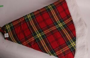 Pottery Barn Oakley Tartan Plaid & Sherpa trim Christmas tree skirt large 60""