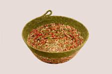 Coiled Rope Basket, Fabric Bowl, Fiber Art Basket