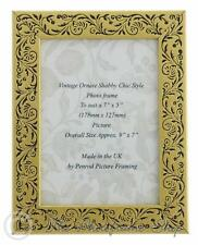 Handmade 7x5 Inch Photo Frame - Vintage Gold Black Floral Detail