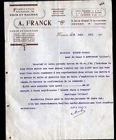 """NEVERS (58) USINE de SACS , TOILES & BACHES """"A. FRANCK"""" en 1907"""
