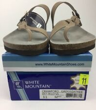 ecff9aca93e0c White Mountain Crawford Sandals Women s Buckle Thong Grey Leather Upper Sz  11 M