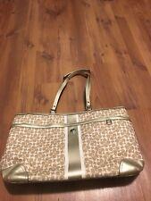 COACH Signature Chelsea Bias Bag/Tote Diaper Bag Khaki/Gold F15134