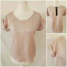 River Island Womens Shiny Sparkly Pink Party Top Blouse Short Sleeves Size 6