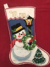 "Finished 16"" Bucilla Felt Christmas Stocking Snowman personalized"