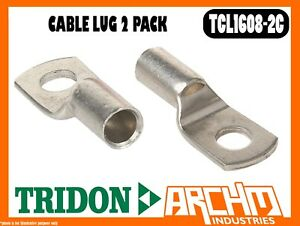 TRIDON TCL1608-2C - CABLE LUG - 2 PACK CARED CABLE 16mm2 (6 B&S) STUD 8mm