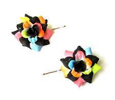 2 x Black Pink Rose Flower Hair Grips Clips Bridesmaid Bobby Pins Slides 2116