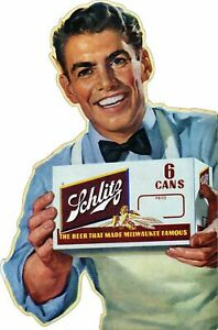 """SCHLITZ BEER MILWAUKEE FAMOUS STORE CLERK 30"""" HEAVY DUTY USA MADE METAL ADV SIGN"""
