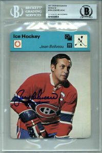 JEAN BELIVEAU SIGNED #10-14 SPORTSCASTER CARD CANADIENS ENCAPSULATED BECKETT BAS