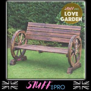 🌈Burntwood Wooden Cart Wagon Wheel 2 Seater Garden Bench Outdoor Armrest Chair