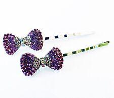 USA Bobby Pin Rhinestone Crystal Hair Clip Hairpin Wedding Bowknot Purple B46